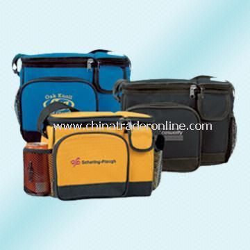 Polyester Cooler/Lunch Bag with Two Zippered Compartments and One Front Pocket