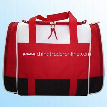 Red Cooler Bag with White Accents and Two Side Pockets