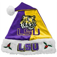 LSU Tigers Purple-Gold Mistletoe Santa Hat from China