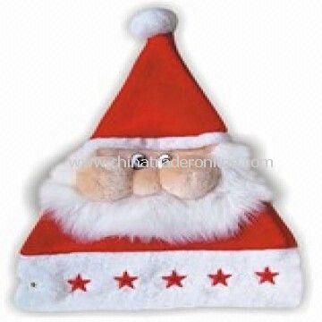 Santa Face Christmas Hat with Lightweight, Made of 100% Cotton from China