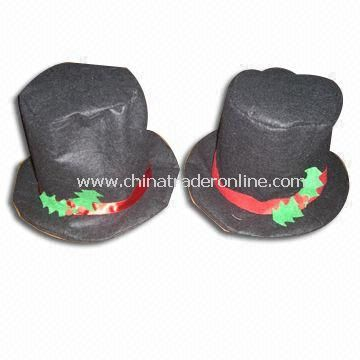 Xmas Hat in Black, Red and Green, Measures 7.5-inch from China