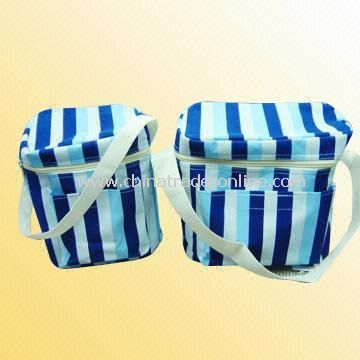 Polyester Cooler Bag with Strip Printing
