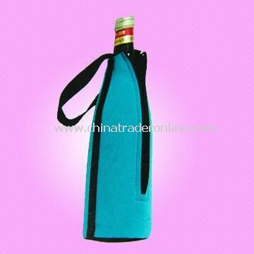 Wine Bottle Cooler Bag Made of Neoprene with Zipper and Strap