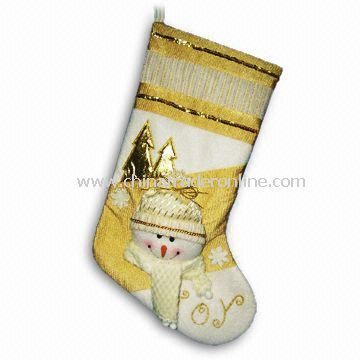 20-inch Cream and Gold Colored Christmas Stockings