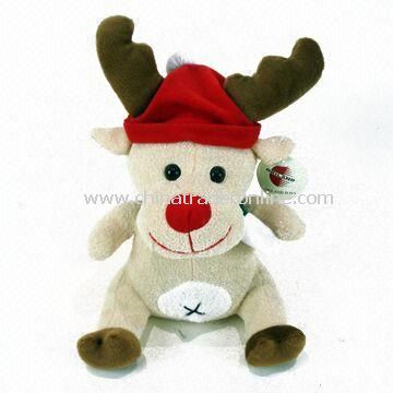 Christmas Animal Toy with Red Scarf and Hat, Available in Various Designs, Measures 23cm