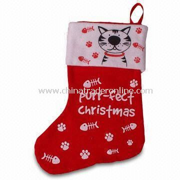 Christmas Pet Stocking, Made of Felt and 100% Polyester, Measures 18 Inches