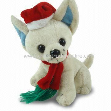 Christmas Plush Dog Toy with Red Scarf and Hat, Available in Various Designs, Measures 20cm