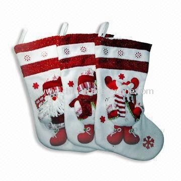 Christmas Stocking, Made of Non-woven Fabric, Available in White