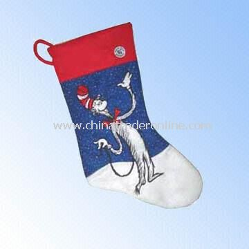 Polyester Felt Stocking in Festival Colors and Designs for Christmas Decoration