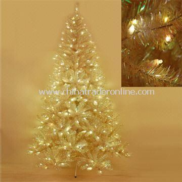 7.5-feet Christmas Tree, Tinsel Clarity Noble Fir Tree with 312 Sunlight LED Lights