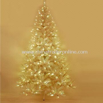 7.5ft Christmas Tree, Tinsel Clarity Noble Fir with 312 Sunlight LED Lights and Hook