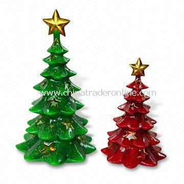 Ceramic Christmas Trees for Home Decorations, Used for Candle Holder