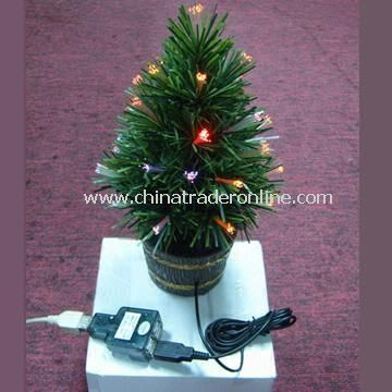 Fiber Christmas Tree with Low Power Consumption, Can Even Be Powered by USB Port