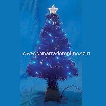 Fiber Christmas Tree with Star and Silver Base, Suitable for Decoration