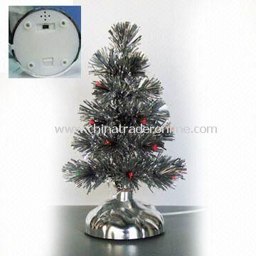 USB Silver PVC Christmas Tree with Fiber, 10 inches Height