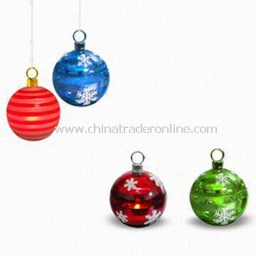 Christmas Ornament Balls with Flickering LED Lights as Seasonal Gifts, Available in Various Designs from China