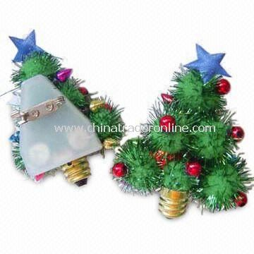 LED Flashing Christmas Pin, Measuring 6 x 4.5cm from China