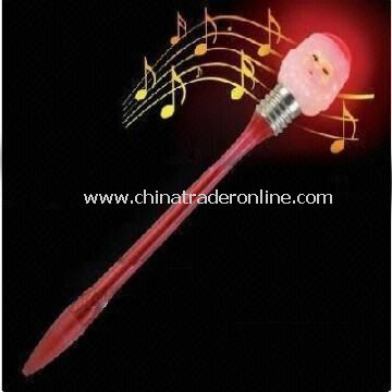 Novelty Pen with Music and Flashing Light, Uses for Christmas Day and Promotion Gift