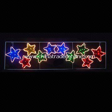 PVC/Iron Motif 10 Stars Christmas Lights with 84 LEDs, Measures 196 x 52cm