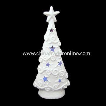 White Ceramic Tree Candle Holder with LED T-light