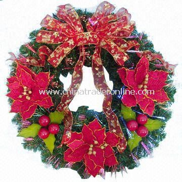 Decorated Fiber Wreath with Poinsettias