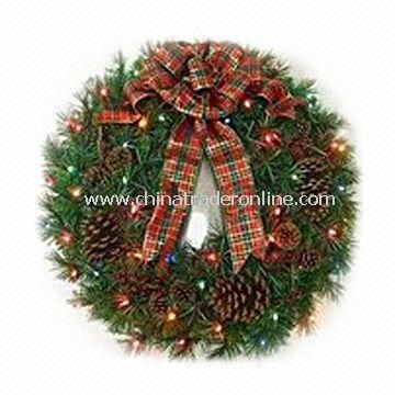 Decorated Fraser Fir Wreath with 50 Lights