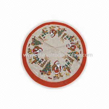 Flax Christmas Tree Skirt, Available in Natural Color with Decoration from China