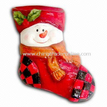 Paper Mache Christmas Sock with Snowman Decoration