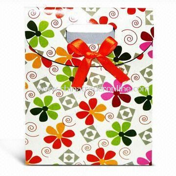 Promotional Paper Bag with Ribbon, Suitable for Shopping, Advertisements, and Promotions
