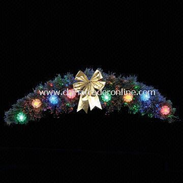Wreath with light and ribbon, Made of holly branches, Suitable as Christmas Ornament