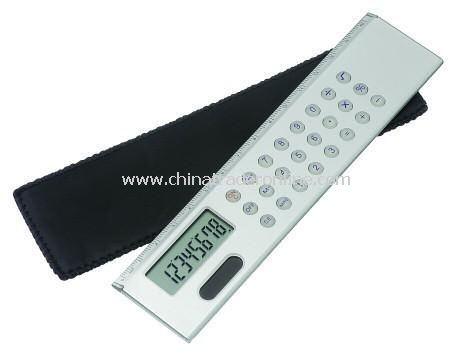 Metal Slim Line Dual Powered Calculator Ruler