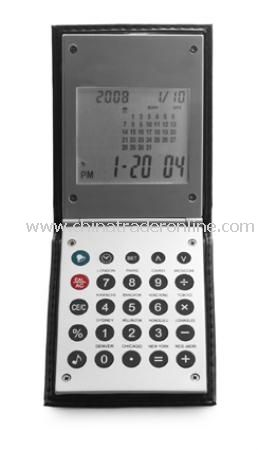World time alarm clock with calculator and calendar, supplied in a PU cover