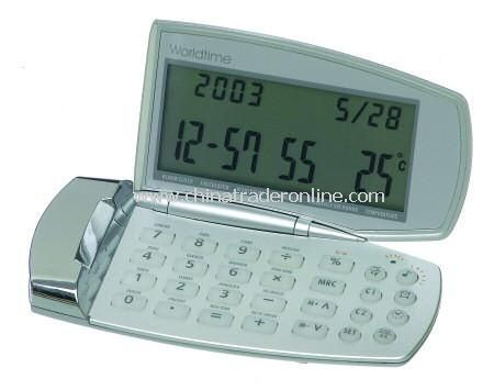 Slimline Two Tone Silver Folding Calculator and World Time Clock