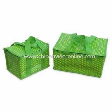 CO-set2 Water-resistant Green PE Woven Cooler Bags, Holds 6 and 12 Cans, Customized Designs are Accepted from China