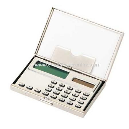 Matt Nickel Card Case with Calculator