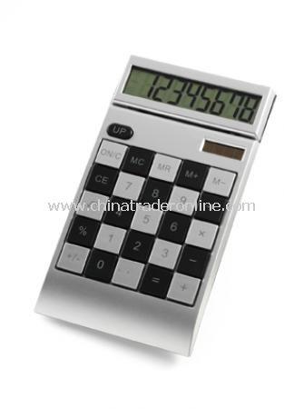 Chequered calculator, 8 digits, dual power, incl. batt.