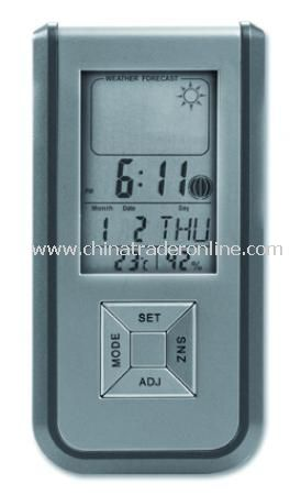 Weatherstation with five functions: alarm, thermometer, calendar, hydrometer and weather forecast, i