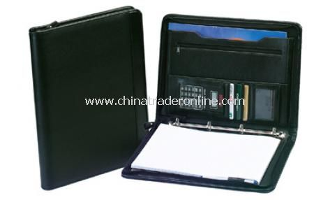 A4 Zipped Folio/4 Ring Binder with Calc. - Black