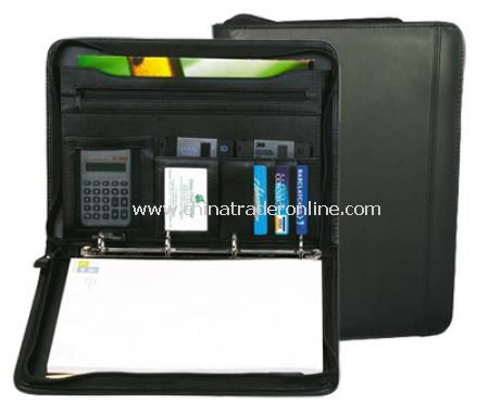 A4 Zipped Folio with Ring Binder - Black