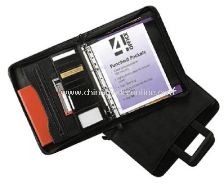A4 Zip Around Drop Handle Folio with Ring Binder -Black