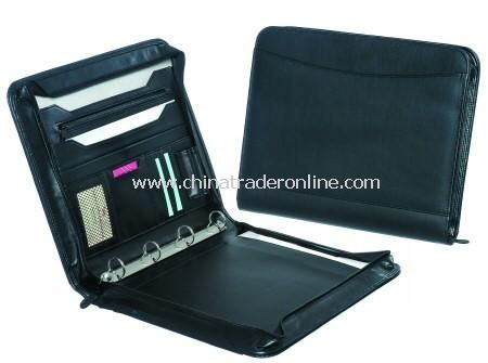 Executive Leather Zip Round Conference Folder from China