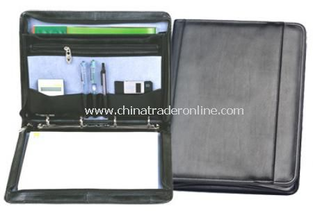Leather A4 Conference Folder with Ring Binder - Black