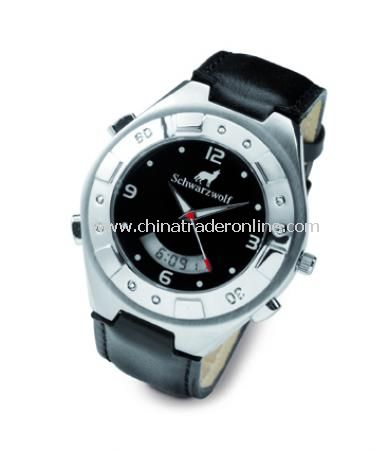 Neuch?tel water resistant watch (50 meters) with digital stopwatch, stainless steel case and leather