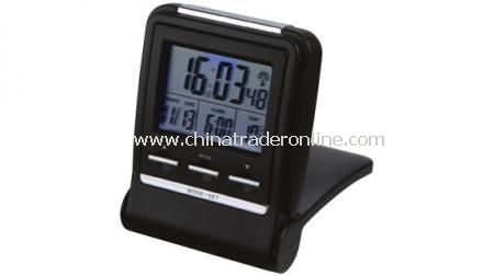 RC FOLDABLE TRAVEL ALARM CLOCK Alarm clock with snooze function, date, thermometer and nigh