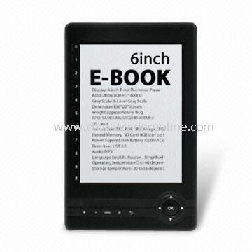 E-book Reader with 6.0-inch E-ink Display and 4-level or 8-level Gray Scale
