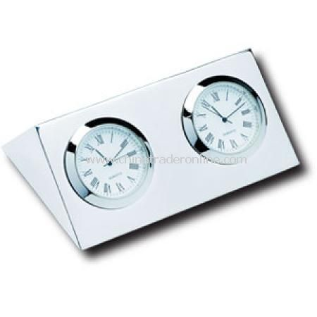 Two City Clock Silver Plated