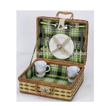 Bamboo and Fern Picnic Basket for 2 Perons