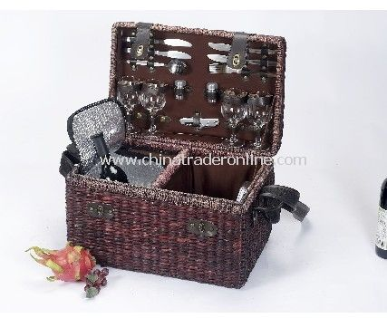 Seagrass Picnic Basket for 4 Person With Cooler Bag