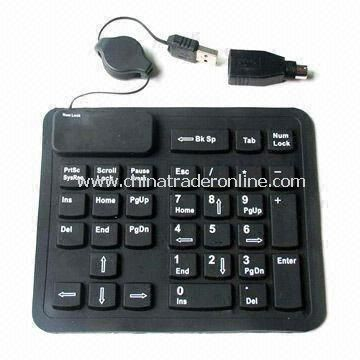 USB Flexible Rubber Keypad for Bluetooth and Apple iPad, Made of Silicone