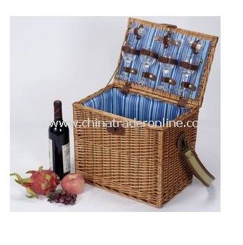 Willow Picnic Basket for 4, Including Full Set of Dinnerware at Good Price